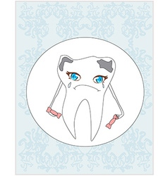 Sad tooth cartoon vector