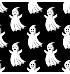 Cartoon uggly ghosts and monsters seamless pattern vector