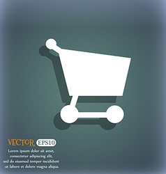 Shopping basket icon symbol on the blue-green vector