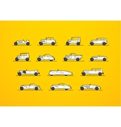 Retro icons set different silhouette shape cars vector
