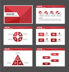 Red polygon presentation templates infographic vector