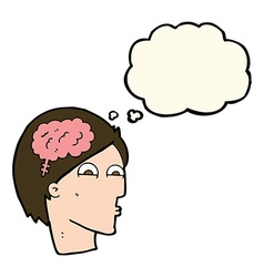 Cartoon head with brain symbol with thought bubble vector