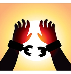 Hands with broken chains vector