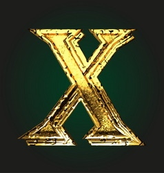 X golden letter vector