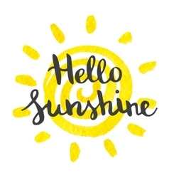 Hand lettering art piece hello sunshine vector