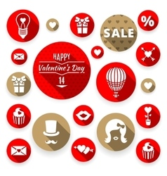Icons set flat valentines love symbols vector