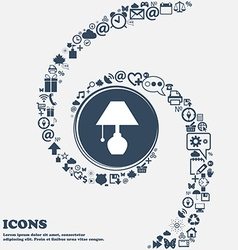 Table lamp icon in the center around the many vector
