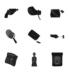 a detective a pistol in a holster a police badge vector image