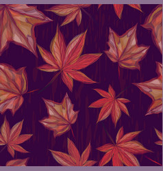 Autumnal seamless pattern with maple leaves vector