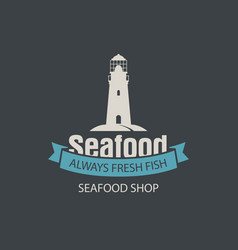 Banner for seafood shop with a lighthouse vector