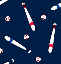 Baseball and bat in a seamless pattern vector