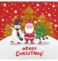 Christmas Companions Cartoon Design vector image