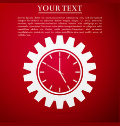 clock gear icon isolated on red background vector image vector image