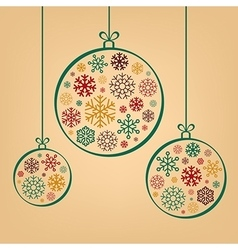 Colorful vintage christmas balls from snowflakes vector