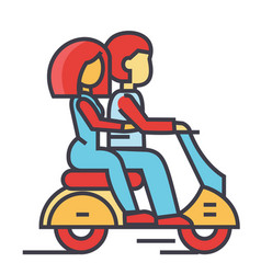 Couple in love riding a motorcycle happy man with vector