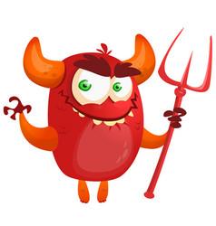 Cute cartoon devil monster vector