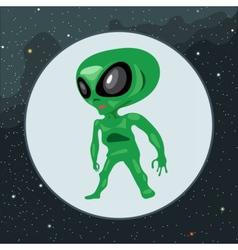 Digital green alien scary creature vector