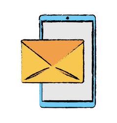 Drawing smartphone email message mail vector