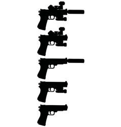 Five black handguns vector