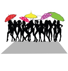 Girl sexy with umbrella vector
