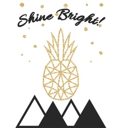 Glitter shimmery pineapple print with shine bright vector image vector image