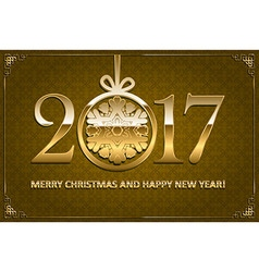 Happy New year and merry Christmas 2017 vector image