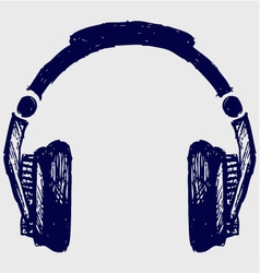 Headphones sketch vector image vector image