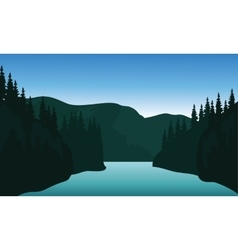 Landscape trees river of silhouette vector