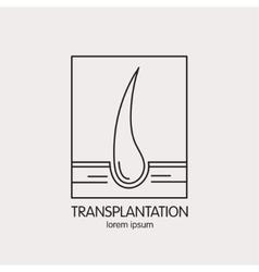line logo of of hair transplantation vector image vector image