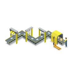 mechanical belt conveyor isometric 3d icon vector image