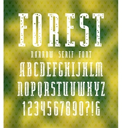 Narrow serif font with speckled texture vector