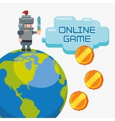 Online game charatcer world coins golden vector