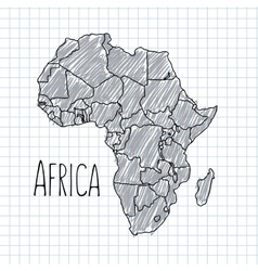 Pen hand drawn african map on paper vector