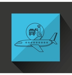 Plane white sun symbol travel passenger luggage vector