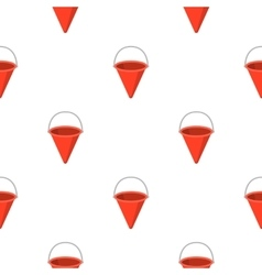 Red metal fire bucket icon cartoon pattern vector