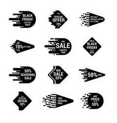 Sale sticker set with hand drawn elements in white vector