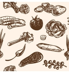 Seamless pattern hand-drawn vegetables in vintage vector