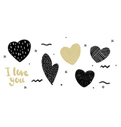 set in the heart hipster style doodle vector image vector image