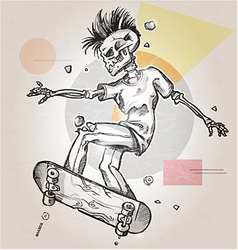 skeleton punk skater on background vector image vector image