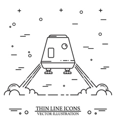 Space module landing on mars the white background vector