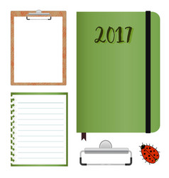 Stationery set with clipboard with lined paper vector