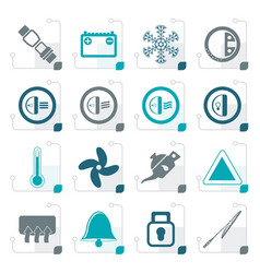 Stylized car dashboard icons vector
