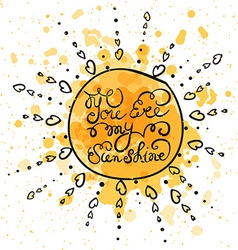 Sun with hand drawn typography poster vector