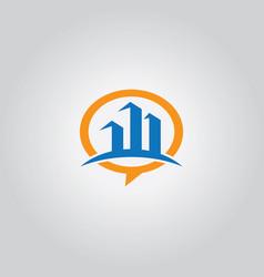 talk bubble building logo vector image