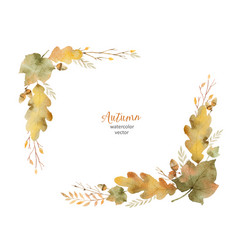 watercolor wreath of leaves and branches vector image vector image