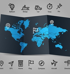 World map and different transportation icons vector