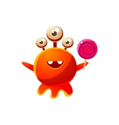 Red three-eyed toy monster with lollypop vector