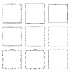 Set of hand drawn decorative square frames and vector