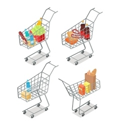 Set of trolleys with food supermarket equipment vector
