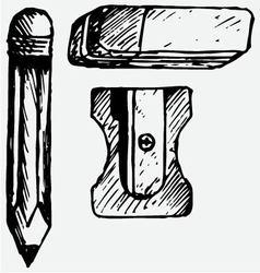 Eraser pencil with eraser and sharpener vector